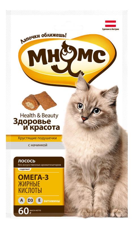 Лакомство для кошек МНЯМС Хрустящие подушечки, лосось, 60г фото