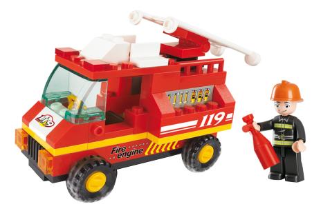 Конструктор пластиковый SLUBAN Пожарная Машина 74 Дет