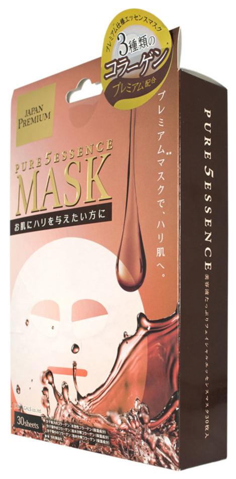 Маска для лица Japan Gals Pure5 Essence Premium c тремя видами коллагена 30 шт