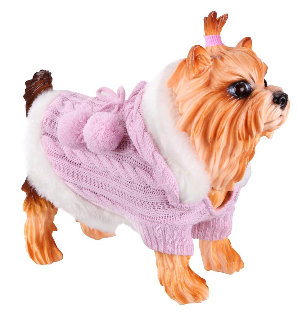 Свитер для собак DEZZIE размер M унисекс, розовый, белый, длина спины 30 см фото