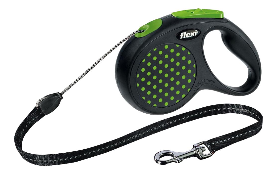 Поводок-рулетка для собак flexi Design трос, зеленый, S, до 12 кг, 5 м