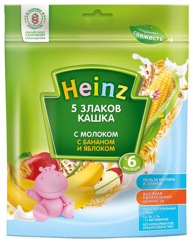 Купить 5 злаков с бананом и яблоком 250 г, Молочная каша Heinz 5 злаков с бананом и яблоком с 6 мес 250 г, Детские каши
