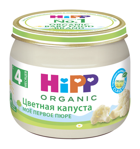 Купить Цветная капуста 80 г, Пюре овощное HiPP Цветная капуста с 4 месяцев 80 гр, Детское пюре