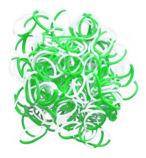 Плетение из резинок Rainbow Loom двухцветные Зеленые-Белые