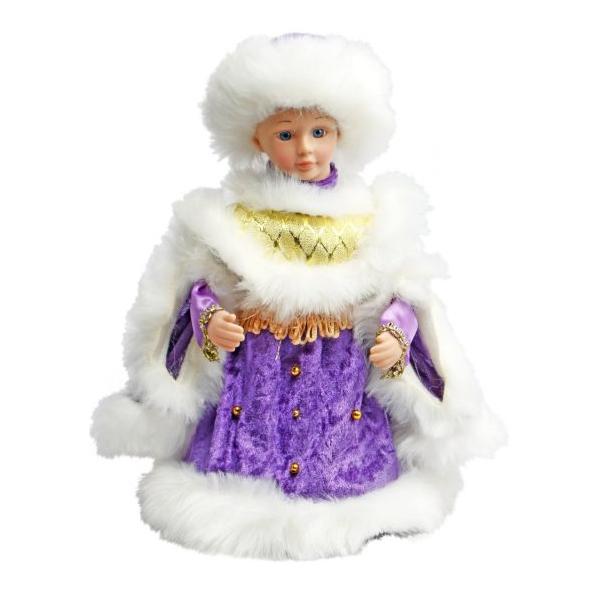Кукла Новогодняя сказка снегурочка 30 см фиолетовый текстиль, пластик, искусственный мех