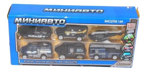 Купить Игровой набор из 6 инерционных машинок Полиция Play Smart А54446, PLAYSMART, Игрушечные машинки