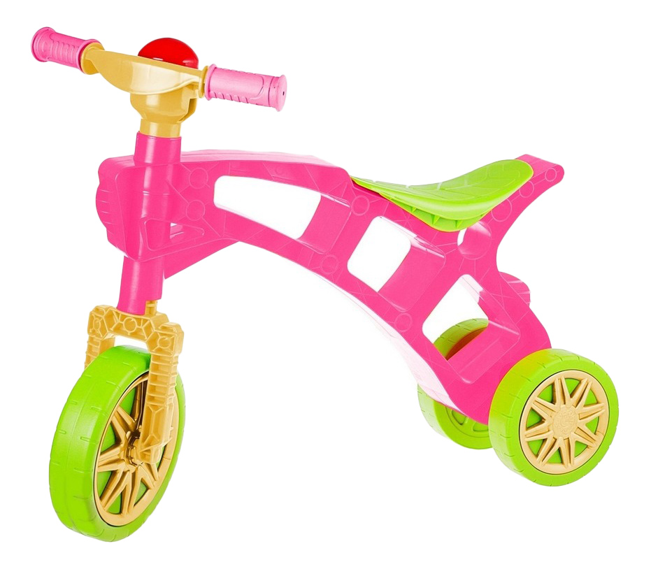 Самоделкин 3 колеса, Каталка-беговел Cамоделкин с клаксоном зелено-розовая 5568, R-TOYS,  - купить со скидкой