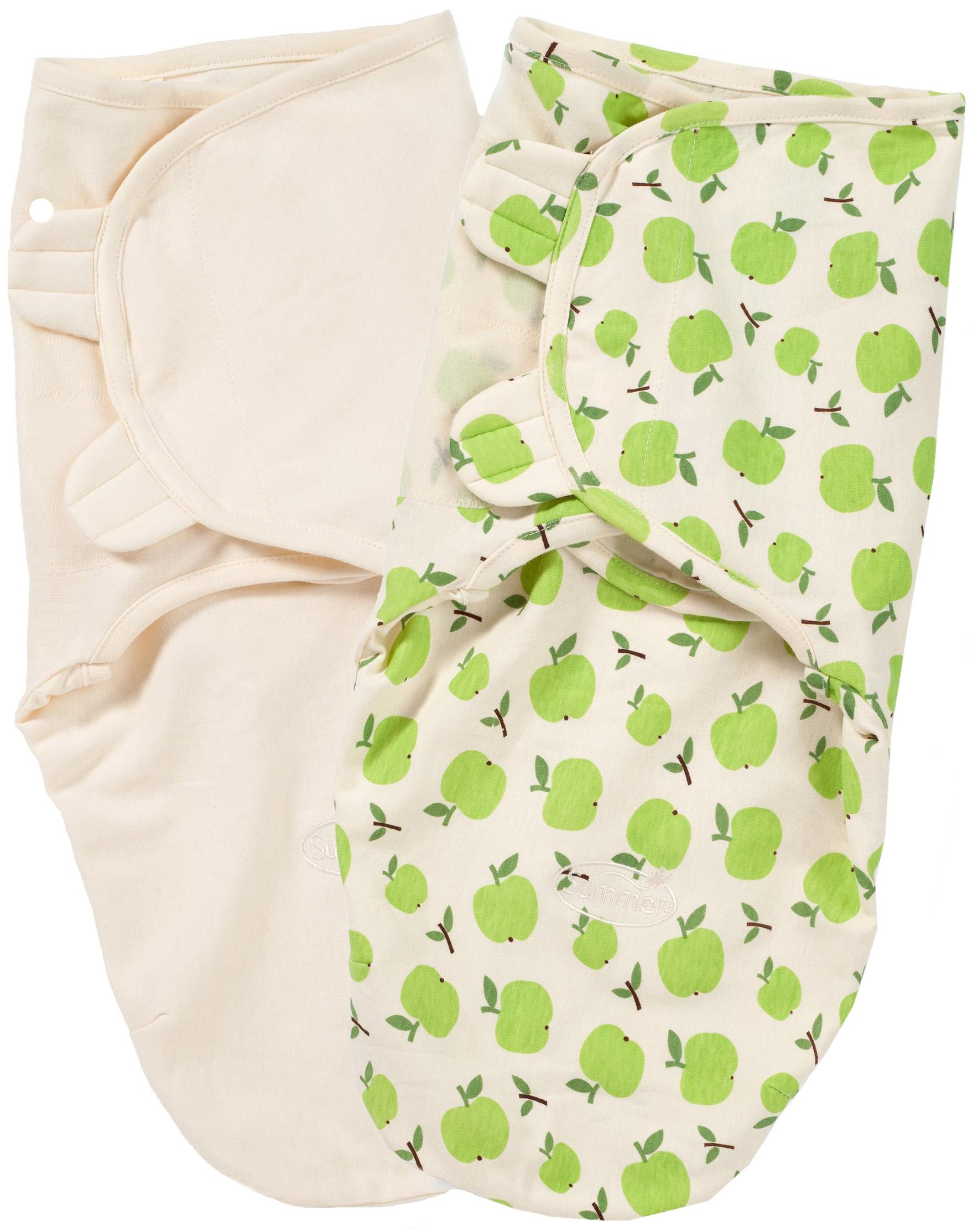 Конверт для пеленания Summer Infant SwaddleMe Organic S/М 2 шт. Зеленый с яблоками