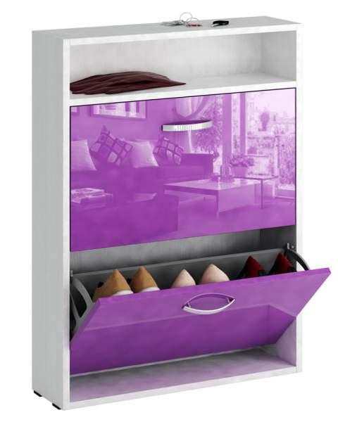 Обувница MFMaster Милан-25 МСТ-ОДМ-25У 60х17х88,2 см, белый/фиолетовый глянец