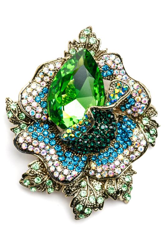 Брошь женская Beatrici Lux BL1897 зеленая