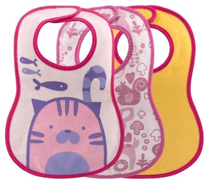 Нагрудник Chicco Easy Meal не пропускает влагу, 6 мес+, 3 шт, Розовый фото