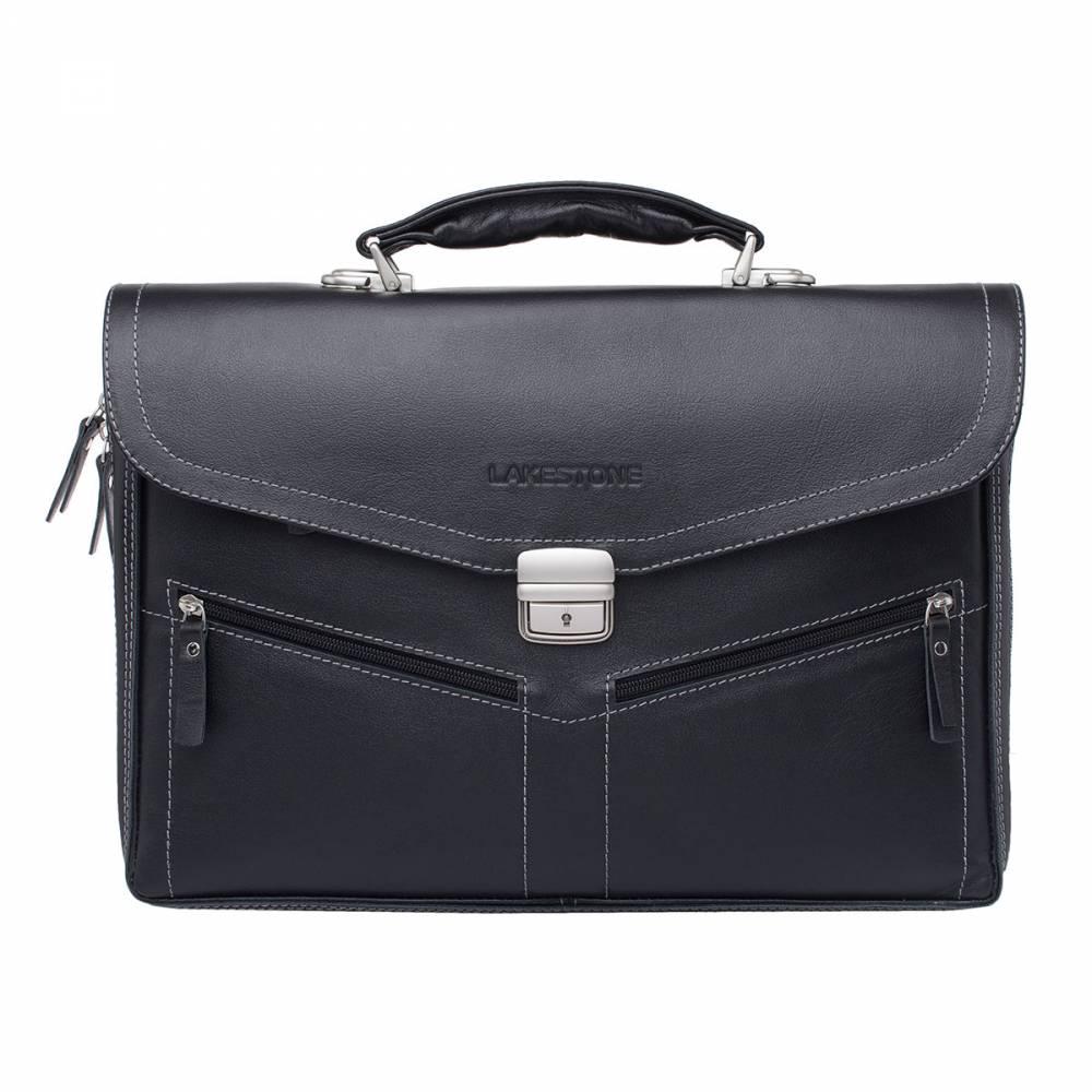 Портфель мужской кожаный Lakestone Filton 943083/BL черный фото