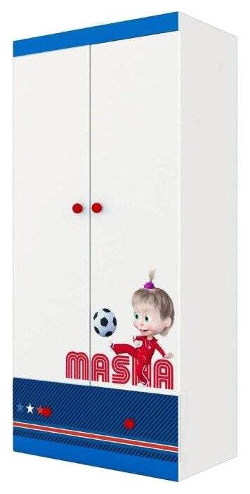 Купить Детский шкаф двухсекционный Polini kids Маша и Медведь Fun 890 Синий, Шкафы в детскую комнату