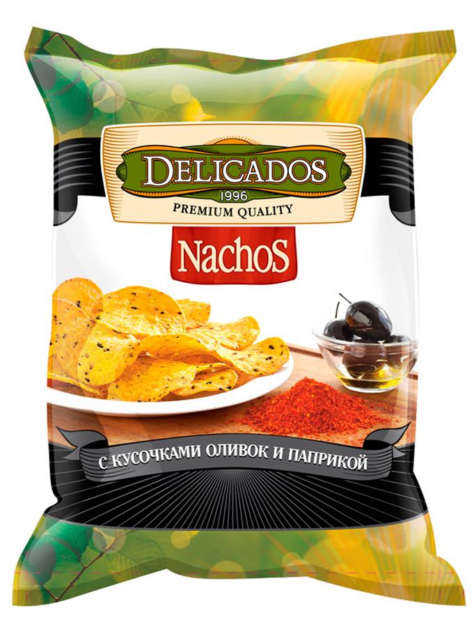 Чипсы кукурузные Delicados nachos с оливками и паприкой 75 г
