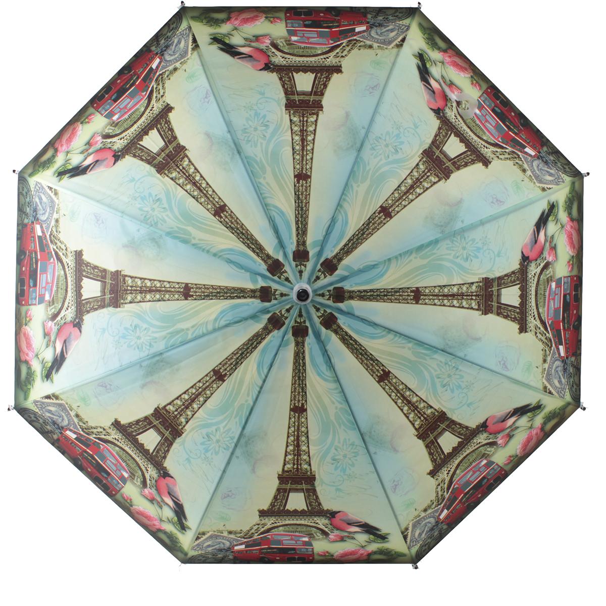 Зонт-трость женский полуавтоматический Flioraj 121217 FJ зеленый
