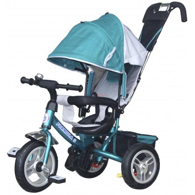 Купить Трехколесный велосипед Formula-3 с родительской ручкой аква FA3G, Shantou Gepai, Детские велосипеды-коляски