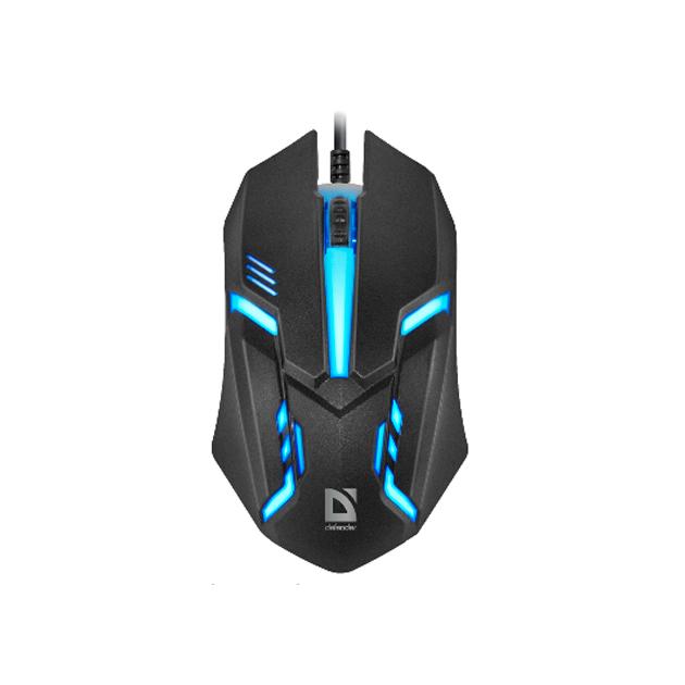 Defender Hit MB-550 Компьютерная мышь чёрная (3 кнопки, 1200 dpi, подсветка 7 цветов)