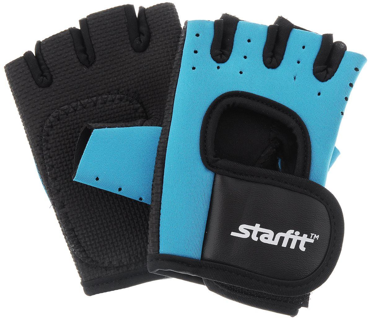 Перчатки для фитнеса StarFit SU 107, черные/голубые,