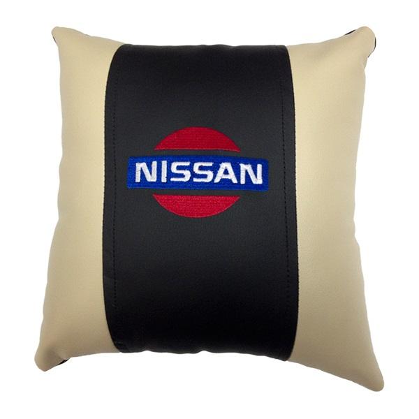 Декоративная подушка из экокожи с логотипом NISSAN