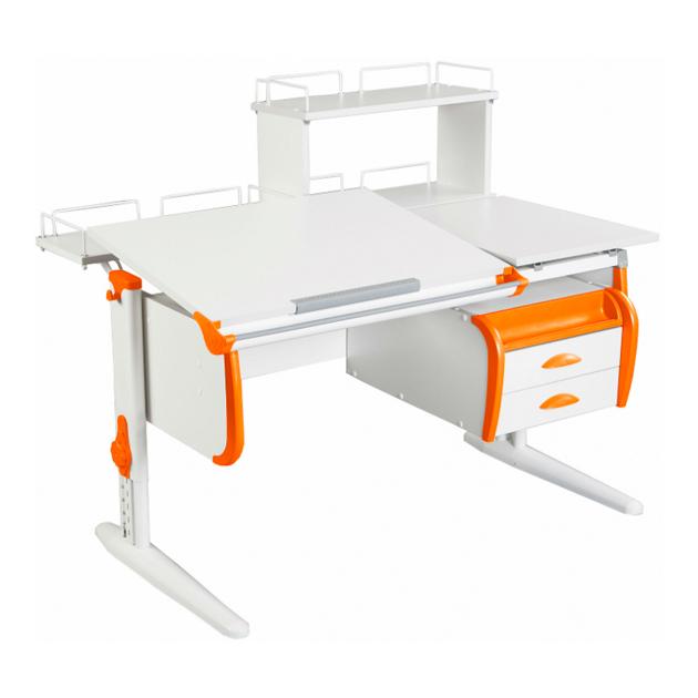 Парта Дэми СУТ-25-04Д WHITE DOUBLE со столешницей, белый, оранжевый, белый,