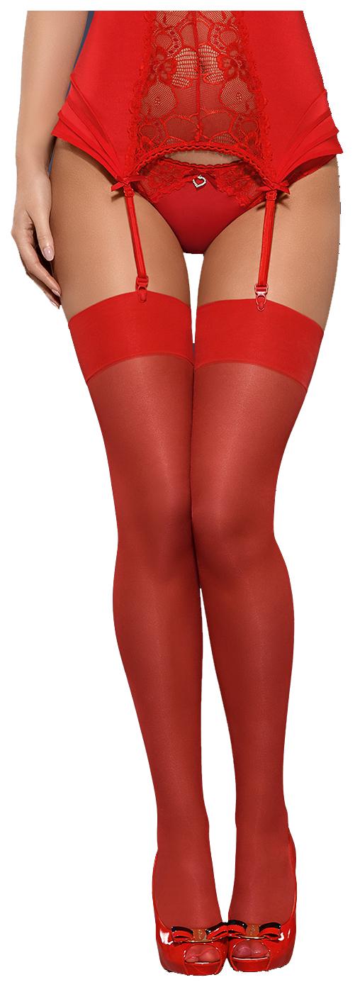 Классические чулки Obsessive с гладкой плотной резинкой красные L-XL фото