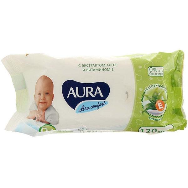 Купить Детские влажные салфетки Aura Ultra Comfort с экстрактом алоэ и витамином Е, 120 шт