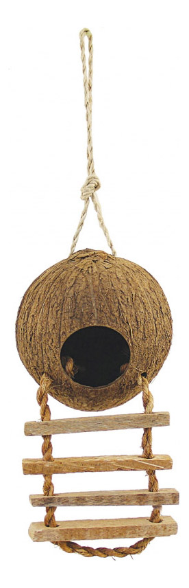 Домик для попугаев из кокоса с лестницей