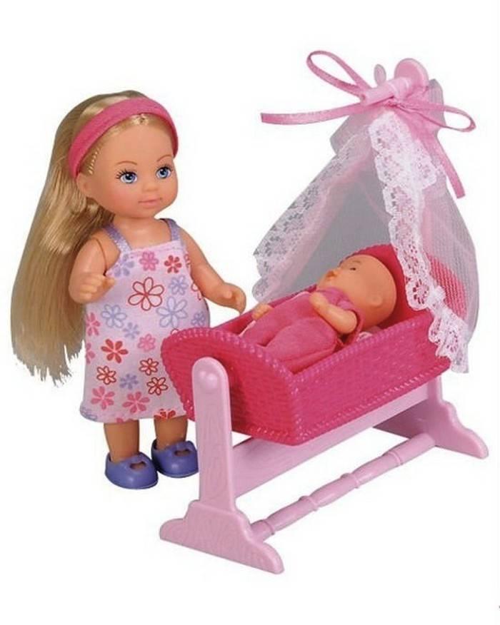 Кукла Simba Еви+Пупс в кроватке розовый (5736242)