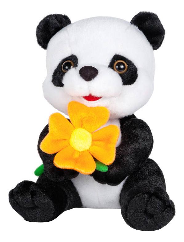 Купить Панда с цветочком, Мягкая игрушка Maxitoys Панда с Цветочком, озвученнвя, 22 см,