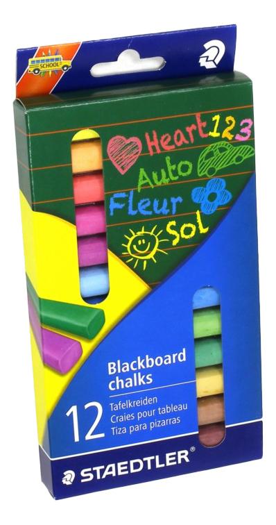 Купить Цветные 12 шт., Мелки цветные для доски 12 шт Staedtler, Наборы мелков