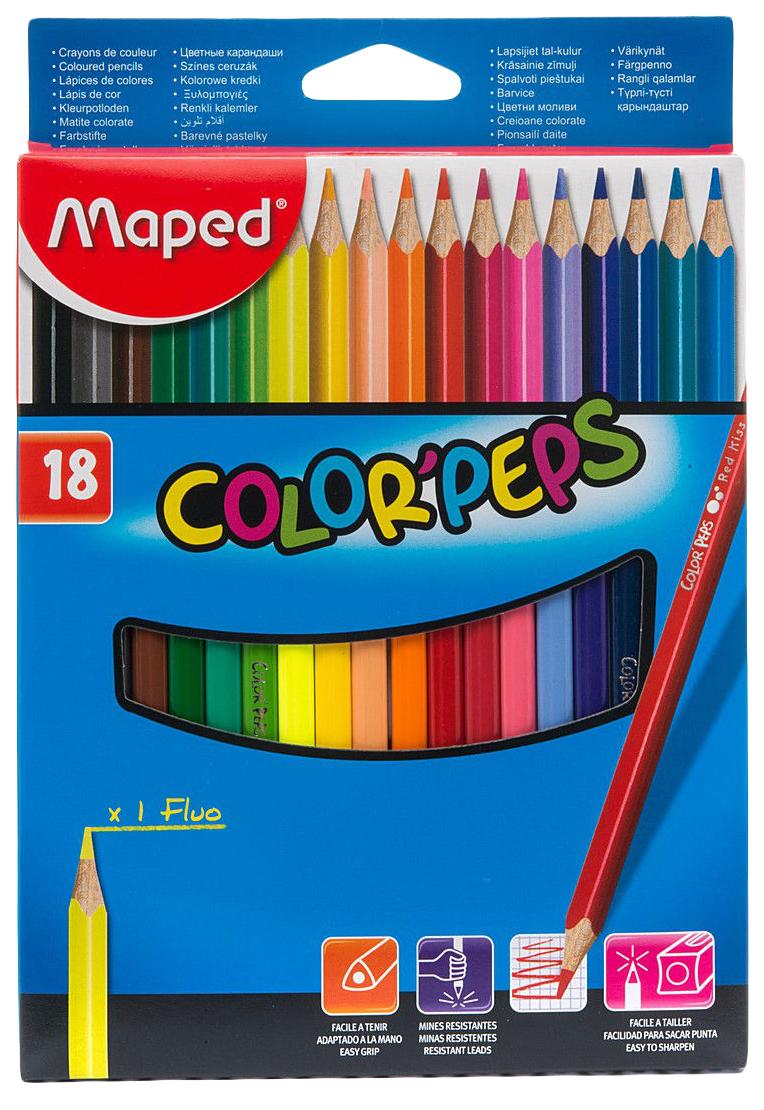 Купить -, Карандаши цветные COLOR'PEPS, треугольн, 18 цв. картон. MAPED, Цветные карандаши