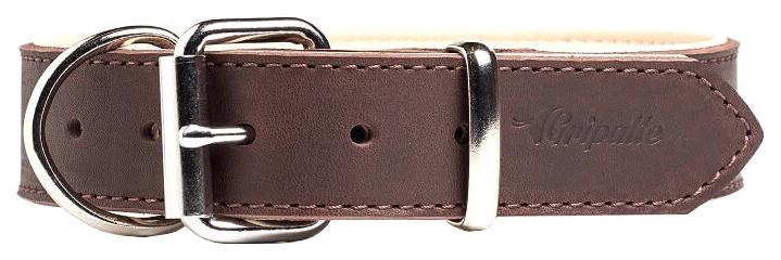Ошейник для собак Gripalle Гросс, кожаный, стальная фурнитура, коричневый, 25мм х 35см