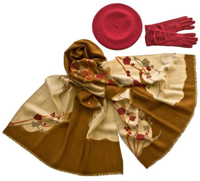 Комплект (берет, палантин, перчатки) Tonak/Tranini 49010 розовый фото