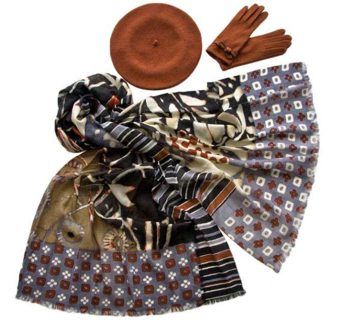 Комплект (берет, палантин, перчатки) Tonak/Tranini 45003 коричневый фото