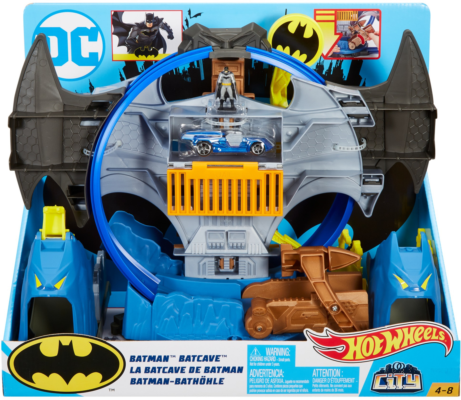 Купить Mattel Hot Wheels GBW55 Хот Вилс Готэм Сити Бэткейв, Машинки-трансформеры