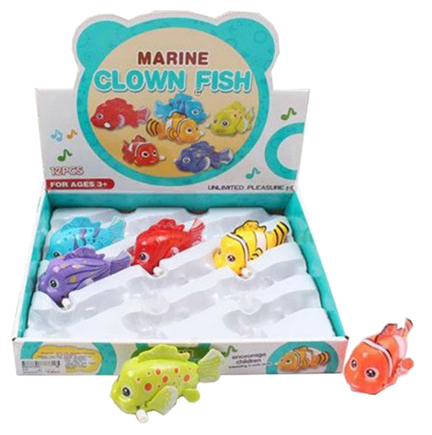 Купить Набор заводных игрушек Рыбки , 12 штук, 30х28х7 см, Shenzhen Jingyitian Trade, Игрушки для купания