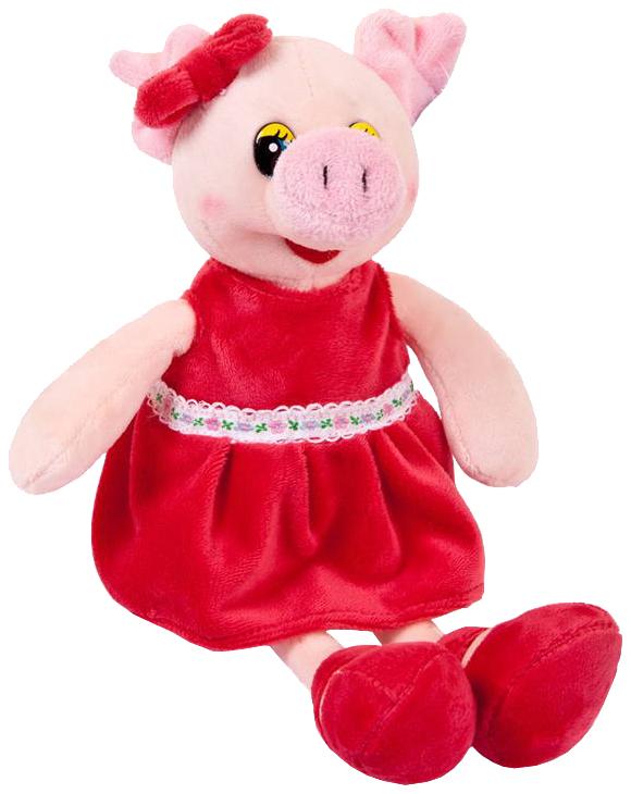 Купить Мягкая игрушка Chuzhou Greenery Toys Co. Ltd. Свинка в красном платье 16 см, Мягкие игрушки животные