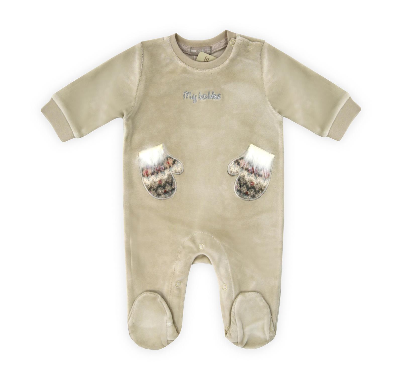 Купить Комбинезон велюр с закрытыми ножками RBC МЛ 383211 бежевый р.62, Трикотажные комбинезоны для новорожденных