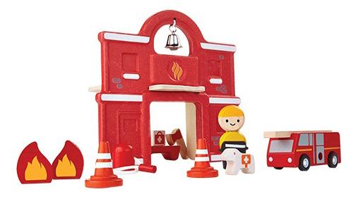 Купить Пожарная станция, Деревянная игрушка для малышей PlanToys Пожарная станция , Развивающие игрушки