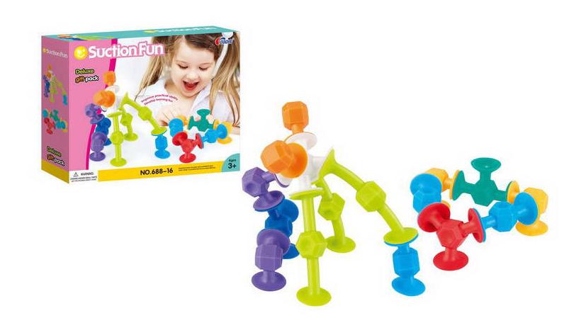 Купить Мягкий с присосками, Конструктор мягкий Junfa Toys Suction Fun 16 предметов, Мягкие конструкторы