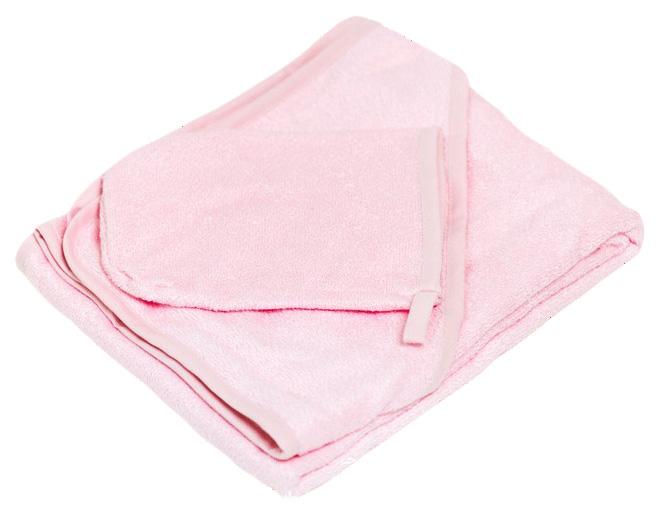 Комплект для купания (полотенце 100х100, варежка) бамбук, розовый
