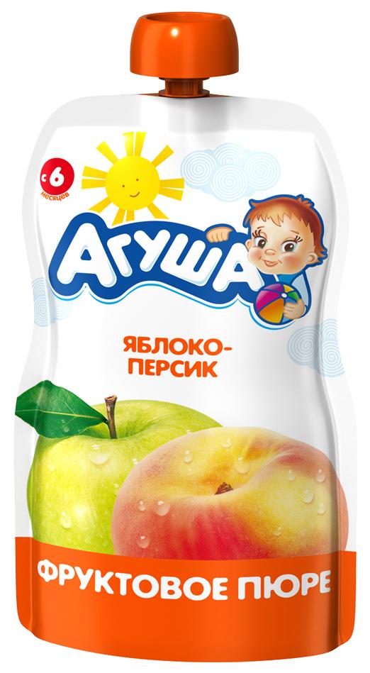 Купить Яблоко-персик 90 г, Пюре фруктовое Агуша Яблоко-персик с 6 мес 90 г, Детское пюре