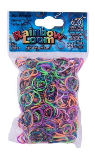 Плетение из резинок Rainbow Loom Ассорти Tie Dye 600 резиночек и клипсы фото