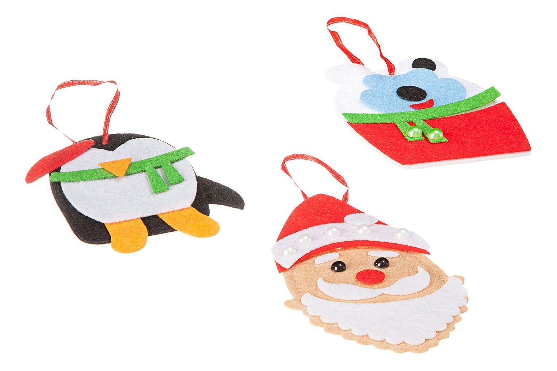 Купить Елочные украшения из фетра Дед Мороз, Пингвин, Мишка, Набор для творчества Елочные украшения Дед Мороз, Пингвин и Мишка Bondibon ВВ1862, Рукоделие