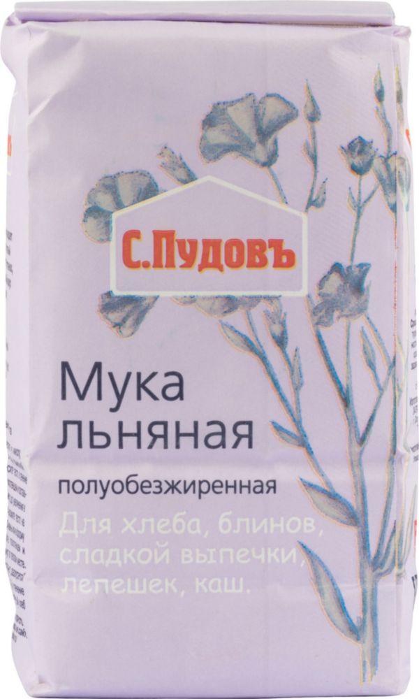Мука льняная С.Пудовъ полуобезжиренная без гмо 400 г