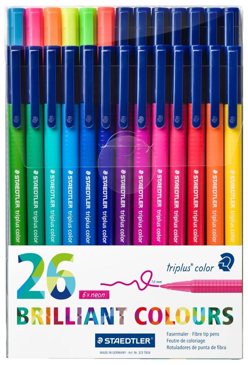 Купить 323 Яркие цвета, Набор фломастеров Staedtler Triplus Сolor Яркие цвета 26 цветов, Фломастеры
