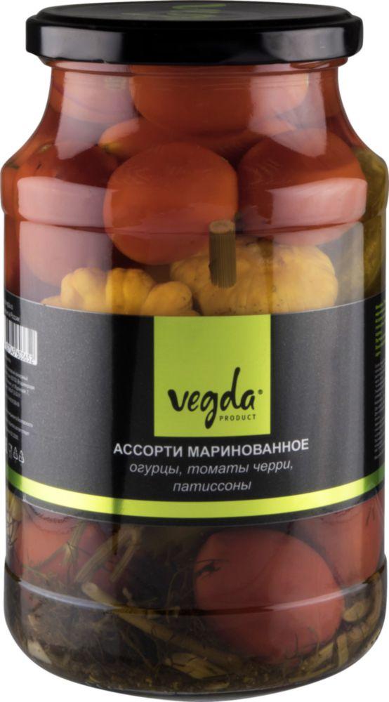 Ассорти маринованное Vegda product огурцы, томаты черри, патиссоны 950 мл