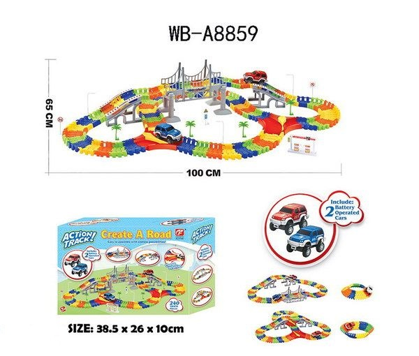 Гибкий 240 деталей WB-A8859, Автотрек Junfa Toys гибкий 240 деталей WB-A8859, Детские автотреки  - купить со скидкой