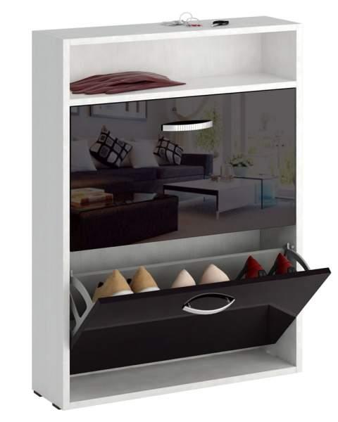 Обувница MFMaster Милан-25 МСТ-ОДМ-25У 60х17х88,2 см, белый/черный глянец