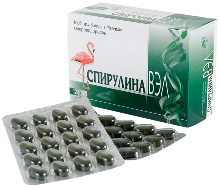 Спирулина ВЭЛ в таблетках 500мг N120